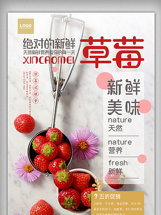 时尚大气草莓水果超市促销海报设计