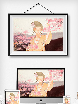原创复古中国风樱花树下的古风少女