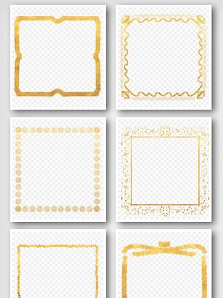 手绘金色简约边框PNG免抠元素透明框素材