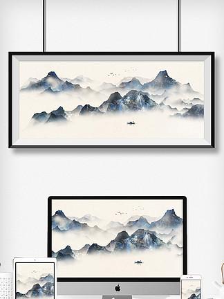 中国风意境水墨山水画古风山水装饰画