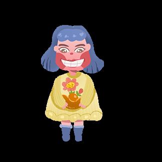 卡通抱花朵和金元宝的可爱小孩子插画图片