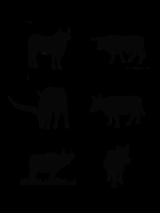 各种动作的牛剪影