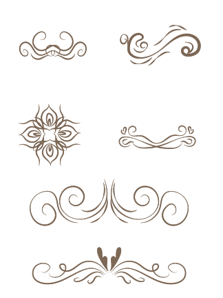 多种灰色<i>欧</i><i>式</i><i>花</i><i>纹</i><i>花</i>边装饰矢量素材
