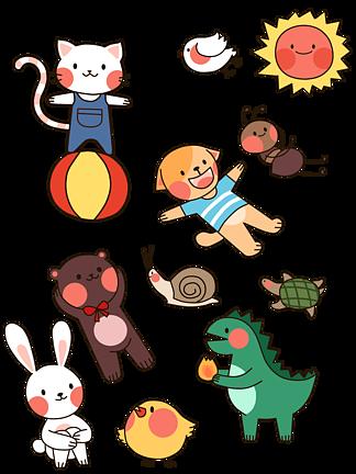 可爱卡通动物素材恐龙猫蚂蚁狗鸟太阳<i>蝴</i><i>蝶</i>