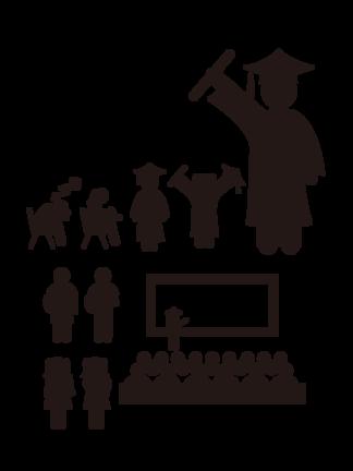 孩子上學上課場景剪影類教育<i>ppt</i><i>素</i><i>材</i>