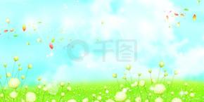 夏季清新蓝天?#33258;?#33609;地海报电商背景