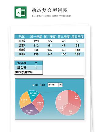 动态复合型饼图Excel图表