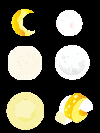 漫画月牙月亮中秋团圆<i>七</i><i>夕</i>月亮素材