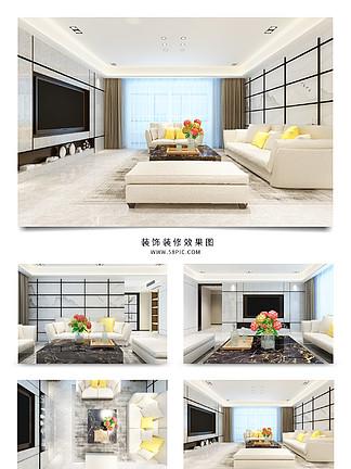 現代客廳方格<i>電</i><i>視</i><i>背</i><i>景</i><i>墻</i>室內裝修<i>效</i><i>果</i><i>圖</i>