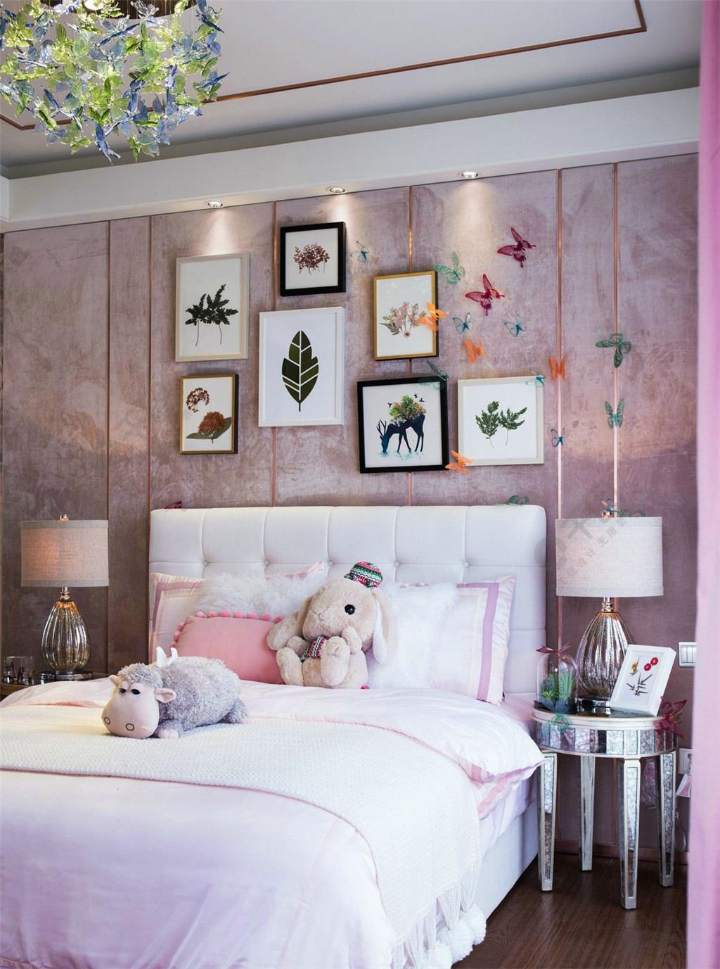 现代粉嫩背景心卧室少女粉色墙室内装修图设计建筑设计咨询钱明波图片