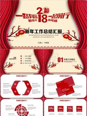 红色新年工作总结汇报ppt模板