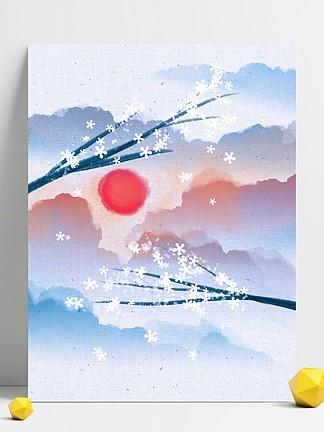 水墨中国风花朵海报背景素材