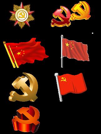 <i>党</i>政<i>党</i><i>徽</i>红旗PNG素材