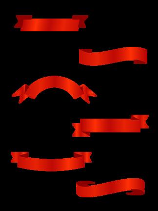 红色<i>丝</i><i>带</i>矢量<i>元</i><i>素</i>标题装饰飘<i>带</i><i>素</i>材集合