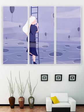 淡紫色寻梦客厅装饰装修壁画