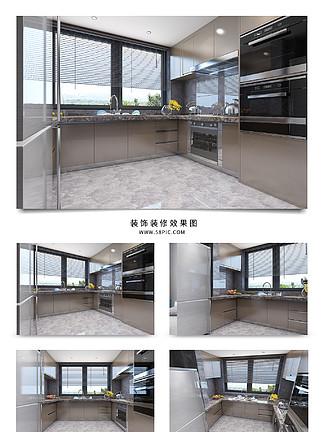 简约开放式厨房灰色大理石台面装修<i>效</i><i>果</i><i>图</i>