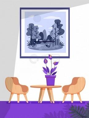 客厅装饰ai矢量素材下载