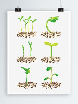清新綠色植物發芽設計元素