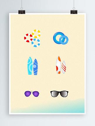 海边夏天卡通矢量元素设计
