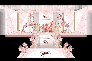 粉白撞色大理石婚礼主舞台效果图