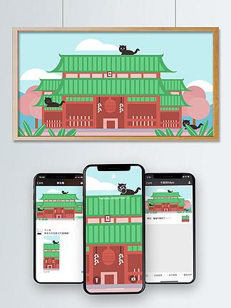 日本旅行貓咪神社寺廟和風東瀛自由行插畫