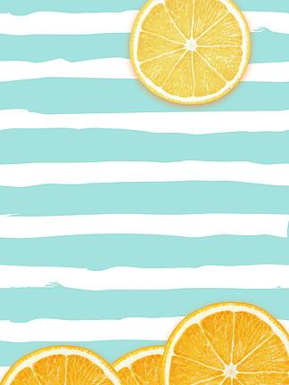 小清新蓝色条纹柠檬早安背景素材
