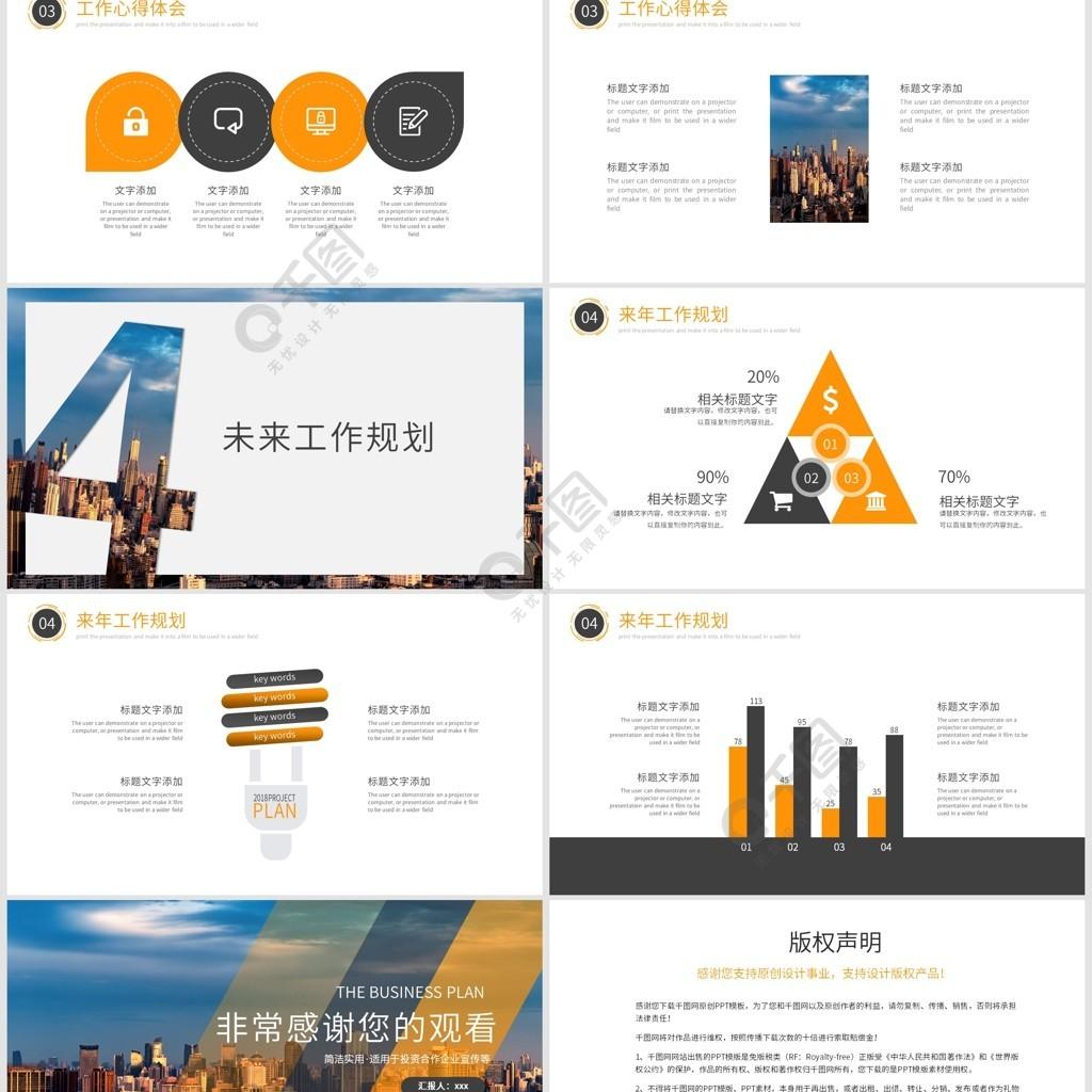 2019橙黑色簡約工作匯報PPT模板