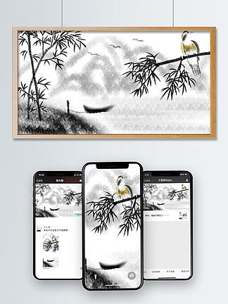 中国风竹子和鸟
