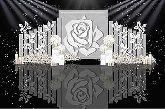 灰色系白玫瑰婚礼效果图