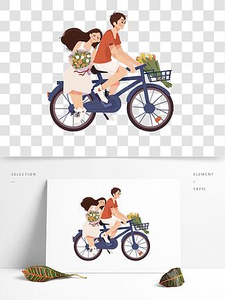 七夕情人節520情侶卡通人物素材愛情214情侶謝楠騎自行車