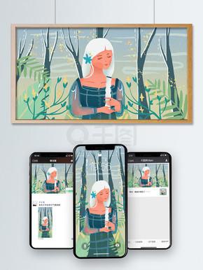 寒露节日节气小清新插画