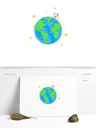 世界清洁地球日手绘地球矢量元素