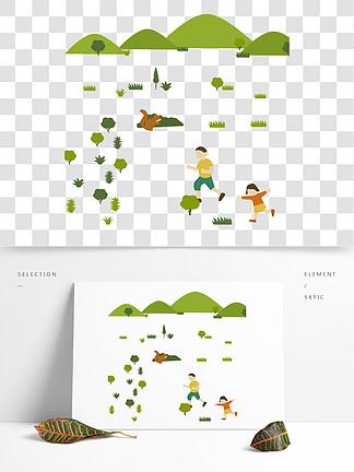 植物游玩儿童保护环境类人物插画?#30423;?#22871;图
