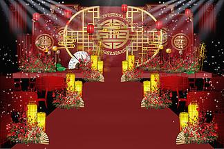 红金色<i>中</i>国风<i>中</i><i>式</i>婚礼舞台<i>效</i><i>果</i><i>图</i>