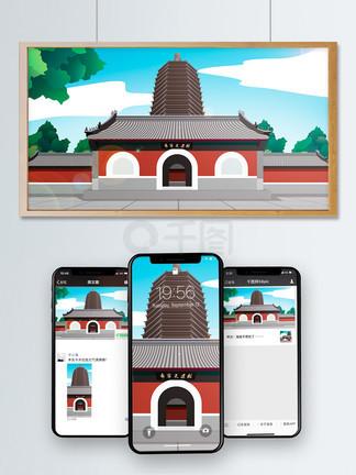 中国风历史建筑北京天宁寺
