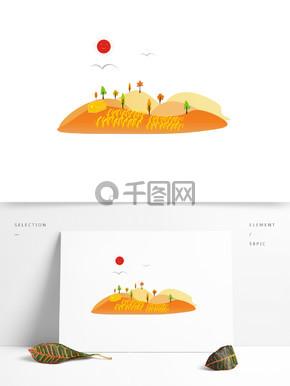 秋分元素之卡通可爱风秋收时节烈日下的稻田