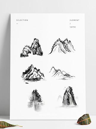 <i><i>水</i></i><i>墨</i><i>山</i><i><i>水</i></i>简约线性黑色国画写意笔触手绘