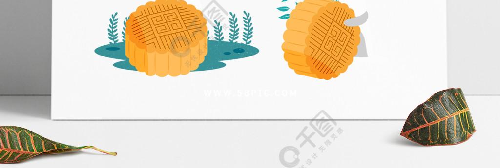 中秋节元素原创手绘小清新月饼兔子