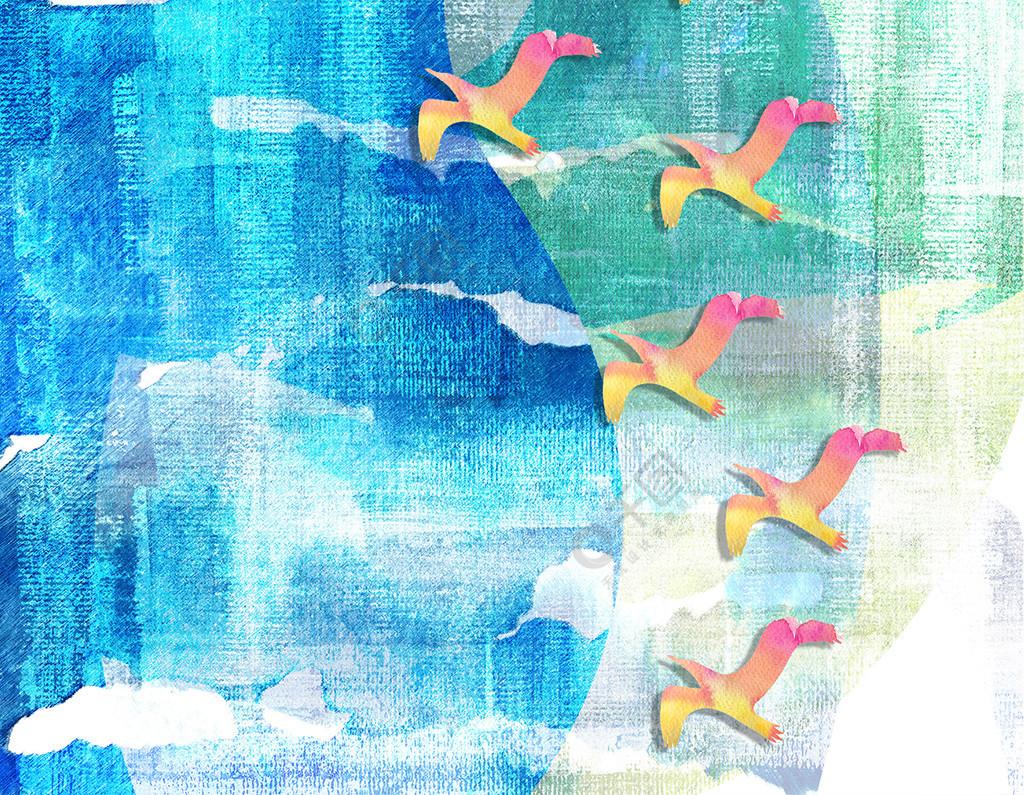 现代简约渐变粉色飞鸟客厅装饰画