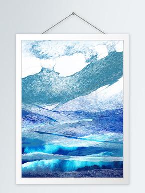 现代抽象深蓝色山石客厅装饰画