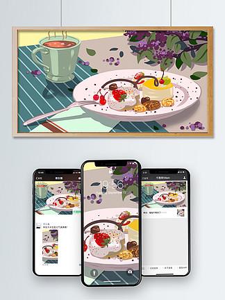 美食甜品下午茶之精致法式甜点清?#30053;?#21019;插画