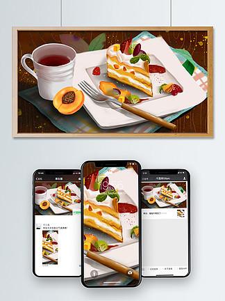 美食美味甜蜜水果红茶饮叉子黄?#19994;?#31957;下午茶