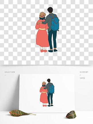 矢量情侣人物背影设计