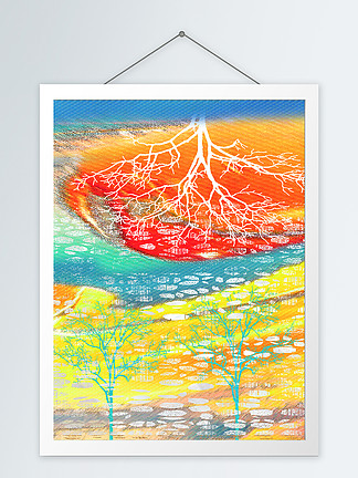 抽象色彩树客厅装饰画