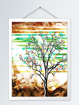 抽象黑色彩色波点树客厅装饰画