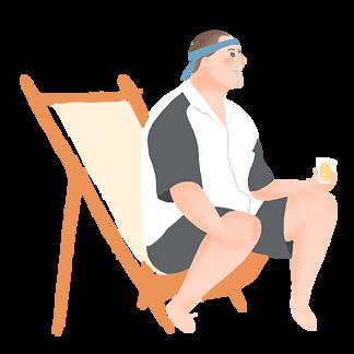 ?#21482;?#21345;通男人坐在椅?#30001;?#21917;果汁原创元素