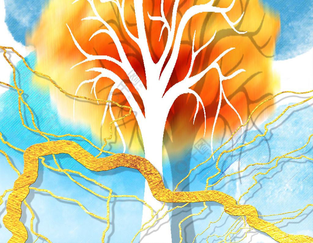 现代橘黄色水墨大树客厅装饰画