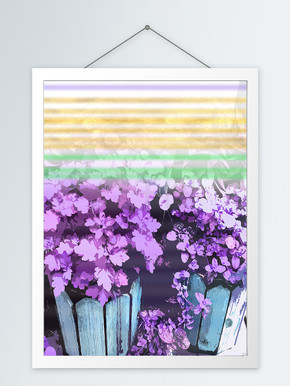 现代紫色盆栽客厅装饰画