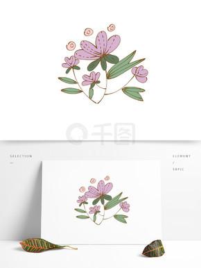 手绘卡通可爱植物花朵花簇粉色矢量元素