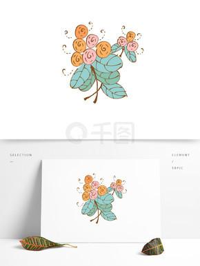 手绘卡通可爱植物花朵花簇黄色矢量元素